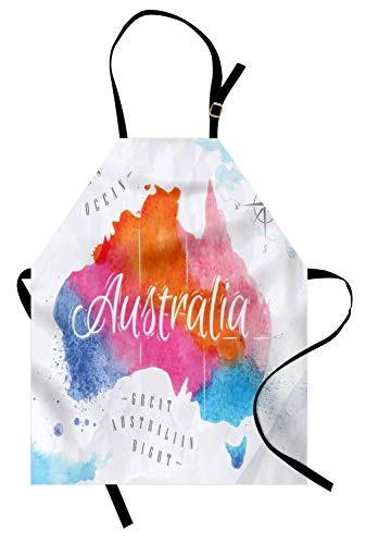 Lunarable Australia Apron, Vintage Atlas Style Colorful Country Map in Watercolor Paint with Windrose, Unisex Kitchen Bib Apron with Adjustable Neck for Cooking Baking Gardening, Multicolor -