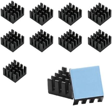 FemiaD 10 Pcs Black Aluminum Cooler Radiator Heat Sink 11mm x 11mm x 5mm
