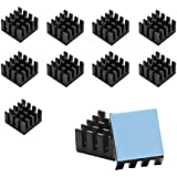 Gadgeter 10pcs Aluminum Heatsink Cooler Circuit Board Cooling Fin For Raspberry Pi,VGA RAM,IC Chips,Mosfet SCR , With 3M 8810 Heat transfer Peel and Stick Tape