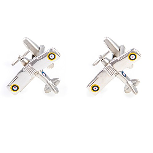 MRCUFF Airplane Plane Biplane Spitfire Fighter Bomber Military Pilot Pair Cufflinks Presentation Gift Box & Polishing Cloth