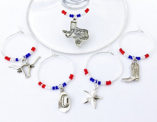 Texas Gift, Texas Cowboy Wine Charms. Texan gift. Includes: Texas State, Longhorn, Cowboy Hat, Star of Texas, and Cowboy Boot. Set of 5. RED WHITE AND BLUE BEADS.