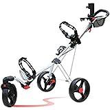 Caddytek SuperLite Deluxe 3 Wheel Golf Push Cart with Swivel Front Wheel-Silver