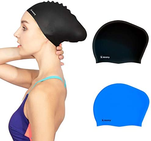 Keary 2 Pack Updated Silicone Swim Cap for Long Hair Women Girl Waterproof Bathing Pool Swimming Cap Cover Ears to Keep Your Hair Dry, 3-d Soft Stretchable Durable and Anti-Slip, Easy to Put On and Off