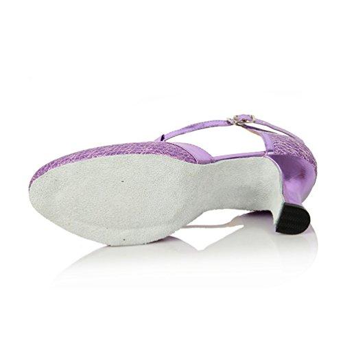 Damen 6cm Violett Latein Tanzschuhe Absatz Standard mogeek RqZpdww