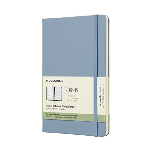 Moleskine 2018-2019 18M Weekly Notebook, Large, Weekly Notebook, Blue Cinder, Hard Cover (5 x 8.25) Large Weekly Notebook