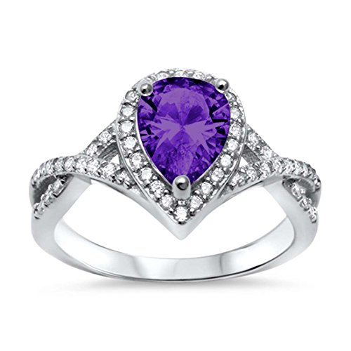 Blue Apple Co. Halo Teardrop Wedding Promise Ring Infinity Accent Simulated Amethyst Round CZ 925 Sterling Silver, Size-7 ()