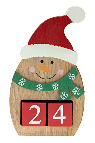 "Count Down Snowman Advent Calendar Blocks | Days Until Christmas | 100% Wood Build | Red, White, and Brown Snow Man | Measures 4"" x 6.5"" 