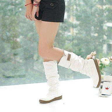 Women's Boots Fall Winter Comfort Leatherette Dress Casual Flat Heel Buckle Walking White mQCVWm