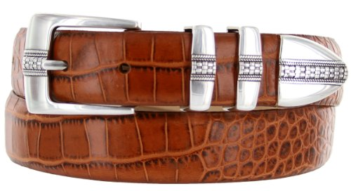 Calfskin Belt (Brandon Italian Calfskin Leather Designer Dress Golf Belt for Men (34, Alligator)