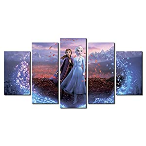 5 Piece Frozen 2 Canvas Painting for Living Room Home Decor Canvas Art Wall Poster (No Frame) Unframed (32in x60in,No Frame)