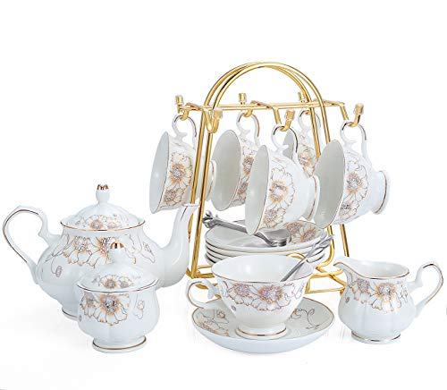 21-Piece Porcelain Ceramic Coffee Tea Gift Sets, Cups& Saucer Service for 6, Teapot, Sugar Bowl, Creamer Pitcher and Teaspoons.