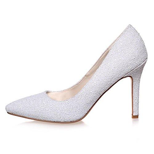 L@YC Frauen High Heels Frühling Sommer Herbst Winter Flash Hochzeit abend & Big Size White