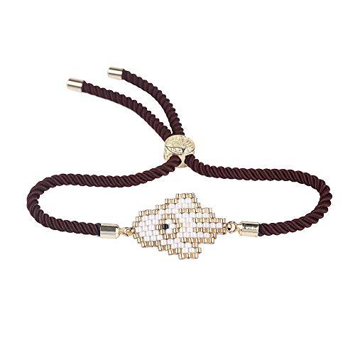 - Nicole Jewelry Miyuki Seed Beads Handmade Kabbalah Bracelets Evil Eye Hamsa Hand Protection Bracelet (Brown)