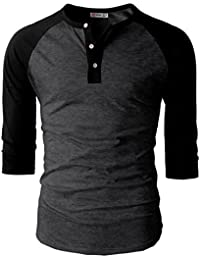 Mens Casual Slim Fit Raglan Baseball Three-Quarter Sleeve Henley T-Shirts