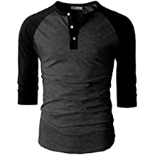 H2H Mens Casual Slim Fit Henley T-Shirts Raglan Baseball 3/4 Sleeve & Long Sleeve