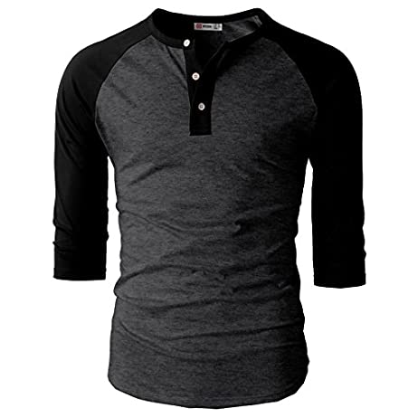 H2H Mens Casual Premium Slim Fit T-Shirts Henley 3/4 Sleeve Summer Clothes 1
