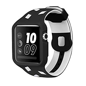 Apple Watch Band 42mm With Protective Case,Soft TPU Iwatch Sport Strap Replacement Wrist Bands For Apple Watch Series 3 2 1, Nike+, Sport & Edition( Black / White )