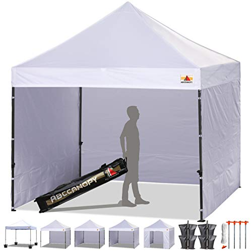 ABCCANOPY Pop-up Canopy Tent 8x8 Commercial Instant Tents Outdoor Canopies Easy to Set Up with 3 Side Walls and 1 Door Wall,Bonus Roller Bag, 4 Sandbags and Stakes(30+ Multi Colors) (Best Canopy Tent For Craft Shows)