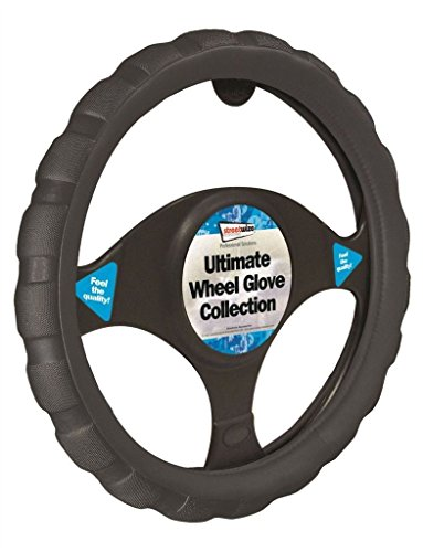 Saab 9-5 Black Chunky Sports Grip Steering Wheel Cover Glove 37cm: