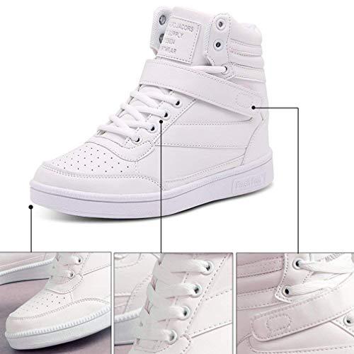 Traspirante Tinta Sneakers Alto Junkai Casual Testa Unita 35 Scarpe Bianca Collo Velcro Rotonda Stringate 40 Da Slittata Con Sportive Zeppa A Sneaker Donna Corsa HHqxZzSt