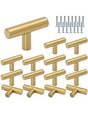 Roestvrij staal T Bar Handvatten, DBAILY 15 stks Single Hole Cabinet Trekt Herbruikbare Keuken Deur Handgrepen Geborsteld Staal Lade Knoppen voor Kast Meubels (10* 50mm) (Goud)