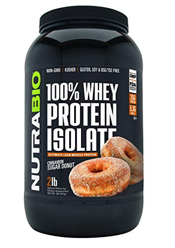 NutraBio 100% Whey Protein Isolate (Cinnamon Sugar Donut, 2 Pounds) (Best Zero Carb Protein Powder)