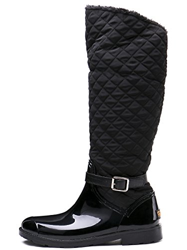 Rain Black TONGPU Decoration Wellies Stylish Buckle Waterproof Boots Women's tnrYq8wr