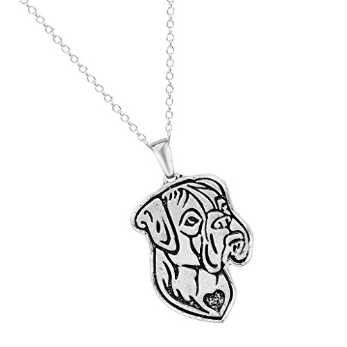 Handmade Boxer Dog Face Puppy Animal Necklaces Pendants Gift for Women and Girls Antique (New Boxer Puppy)