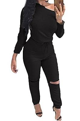 Fixmatti Lady One Shoulder Long Sleeve Drawstring Knee Hole Pant Jumpsuit Romper
