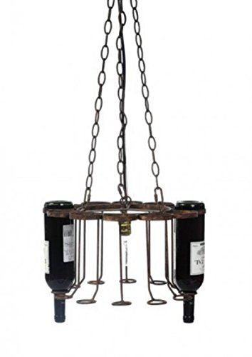 Hanging Wine Bottle Iron and Rust Chandelier for used Bottles Factory Rack Light