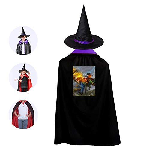 Brniogn Halloween Three Fire Pumpkin Halloween Wizard Witch Kids Boy Girl Cape With Hat Party Cloak