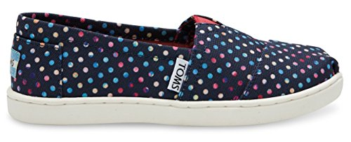 Toms Youth Classic Slip on  US Youth, Blue Poly Canvas Dots)