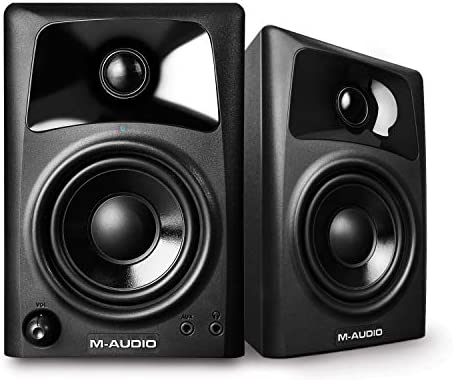 M-Audio AV32 Compact Active Desktop Reference Monitor Speakers For Premium Playback, Professional Media Creation and Immersive Gaming Sound