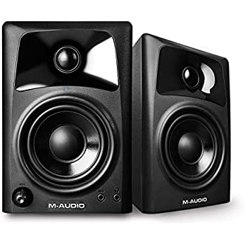 M-Audio AV32 | Compact Active Desktop Reference Monitor Speakers For Premium Playback, Professional Media Creation and Immersive Gaming Sound