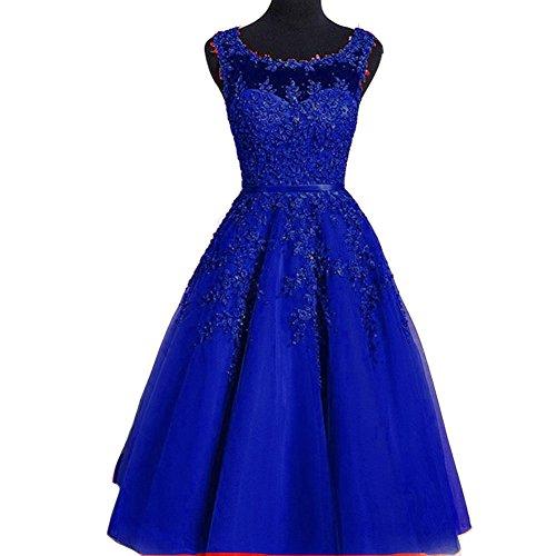 [Kivary Sheer Bateau Tea Length Short Lace Prom Homecoming Dresses Royal Blue US 8] (Blue Sequin Corset)