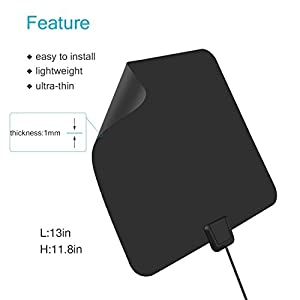 HDTV Antenna,Sobetter 50 Mile Range Digital TV Receiver with Detachable Amplifier, USB power supply and 13.2ft Coax Cable,12 months warranty(New version,supports formart 1080p,4K)