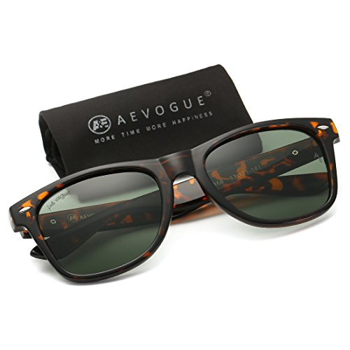 AEVOGUE Polarized Sunglasses Acetate Frame Brand Design Classic Horn Rimmed 80's Retro (Tortoise&G15, 53)