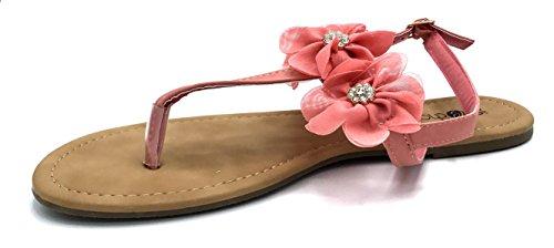 Chatties Dames Sandales Pu Thong Avec Des Fleurs En Mousseline De Pierres Précieuses Corail Léger