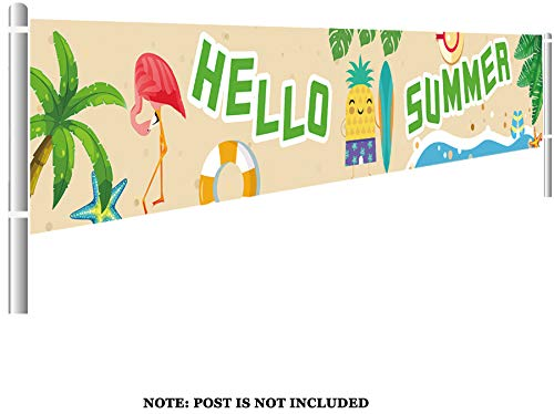 Colormoon Large Hello Summer Banner, Pineapple Pool Party, BBQ Party Bunting Banner, Summer Party Decorations Supplies (9.8 x 1.5 feet) -