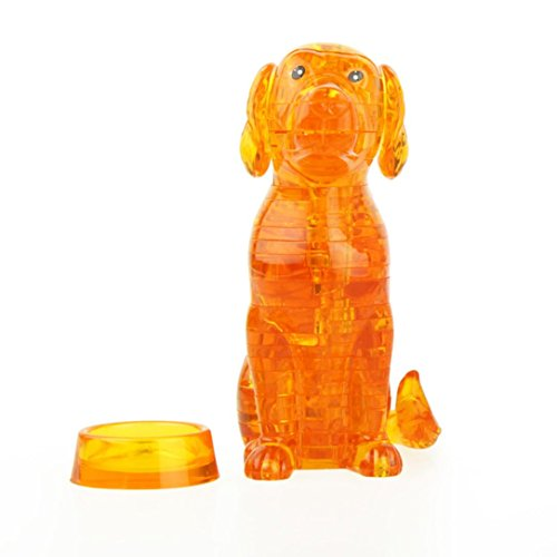 Novelty Blocks Toys,Nesee 3D Crystal Puzzle Cute Dog Model DIY Gadget Blocks Building Toy Gift (Orange) (3d Dog Model)
