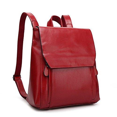 Mochila de Cuero PU Mujer Moda Mochilas tipo casual Mochila De Viaje bolsos de viaje Daypack Bolsas De Escuela Broncearse Bolsos Mochila Rojo Bolsos Mochila