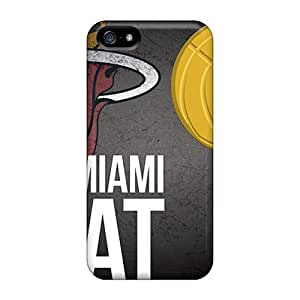 Iphone 5/5s Hard Back With Bumper Silicone Gel Tpu Case Cover Miami Heat