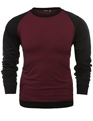 COOFANDY Mens Long Sleeve T shirt Raglan sweatshirt with pockets