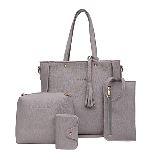 FitfulVan Clearance! Hot sale! Bags, FitfulVan Women Four Set Handbag Shoulder Bags Four Pieces Tote Bag Crossbody Wallet (Gray)