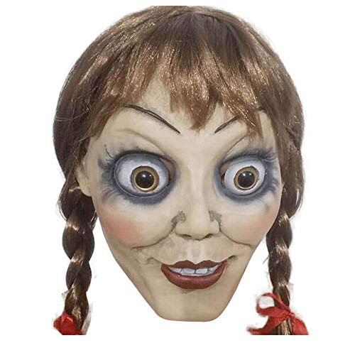 Annabel mask Wigs Annabel Horror Mask with Wig Halloween mask Terrorist mask Brown]()