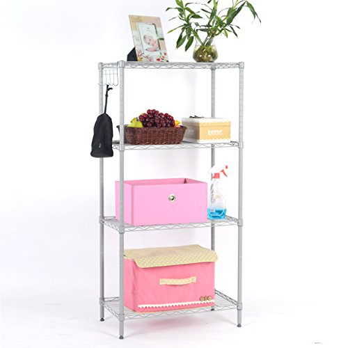 LANGRIA 4 Tier Wire Shelving Unit Heavy Duty Metal Frame Organization and Storage Rack with Four Shelves, 5 Side-Hooks, and Adjustable Feet (Silver Grey) (Frame Shelving)