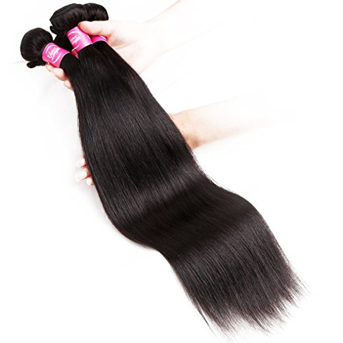 Mink 8A Brazilian Virgin Hair Straight Remy Human Hair 4 Bundles Deals (22'' 24'' 26'' 28'') 100% Unprocessed Brazilian Straight Hair Extensions Natural Color Weave Bundles by Grace Length Hair (Image #3)