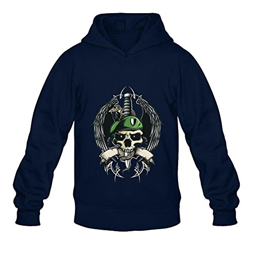 HOODY COLOR Men's Skull Eagle Winged Snake Dagger Military Pullover Hoodies Royal Blue (Steve Kerr Halloween)
