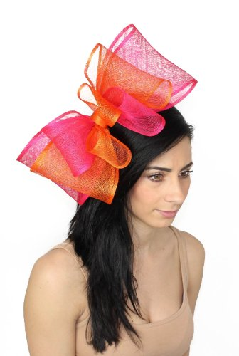 12 Inch Cliverina Sinamay Bow Ascot Fascinator Hat With Headband - Orange/HotPink by Hats By Cressida