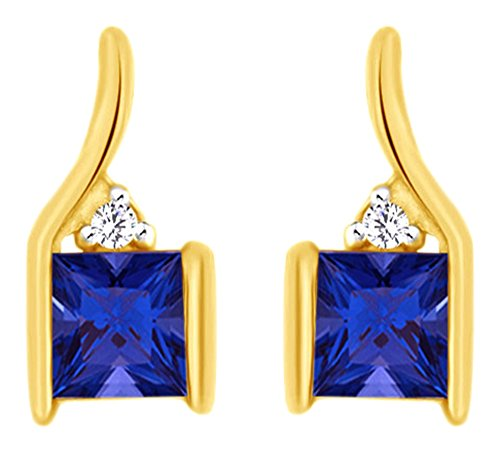 Princess Cut Simulated Alexandrite With Natural Diamond Stud Earrings In 10K Solid Yellow Gold